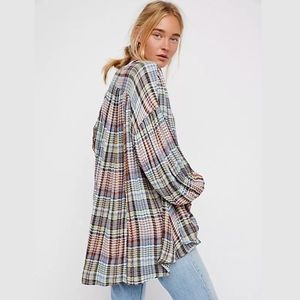 NWT Free People Come on Over Flannel Tunic Top XS